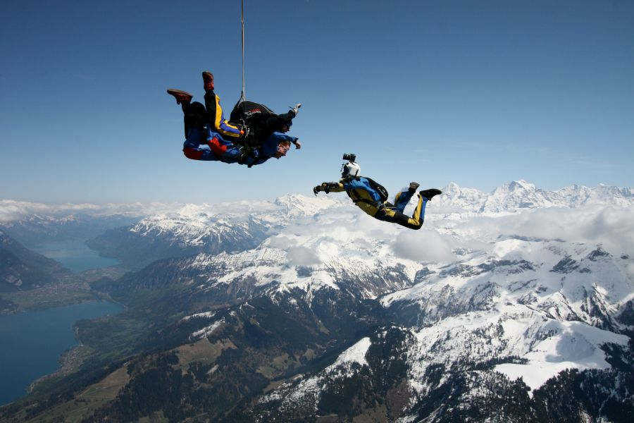 Tandem jump over the Swiss Alps