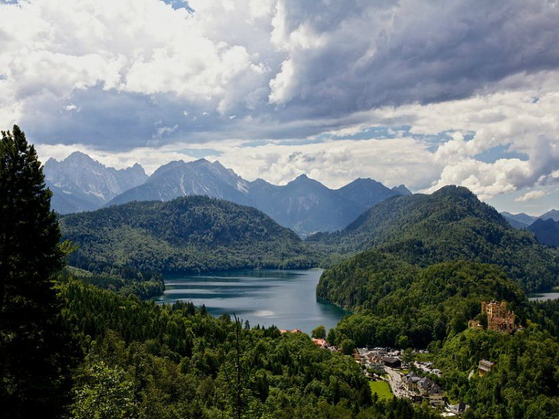 Scenic view of Hohenschwangau Castle (and village) as taken from the more famous Neuschwanstein Castle.
