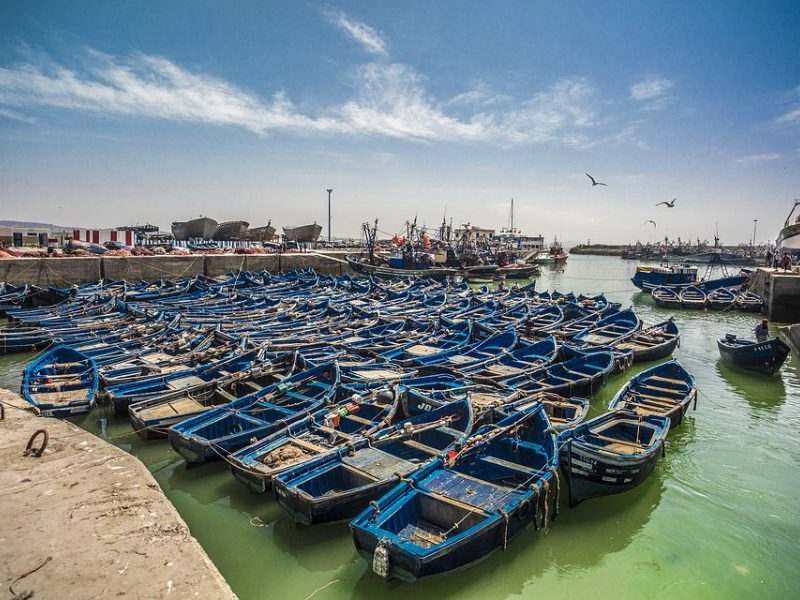 The port town of Essaouira in Morocco is famous for its blue fishing boats. As you can see they make for an excellent photo opportunity.