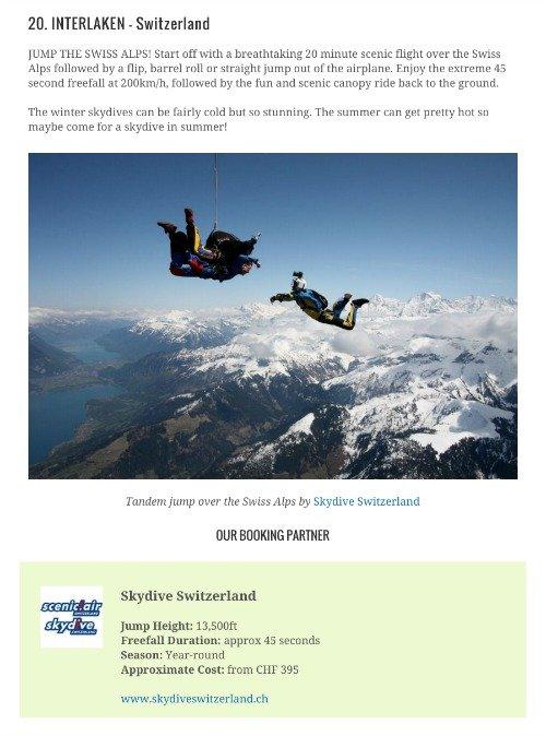 skydiving wanderlist example