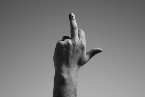 Flipping the middle finger