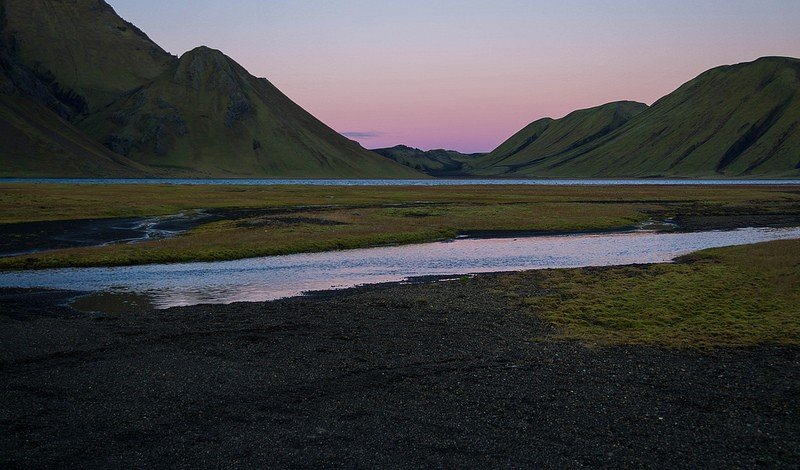 Sunset in the highlands of Iceland