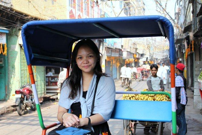 Lisette taking a rickshaw ride