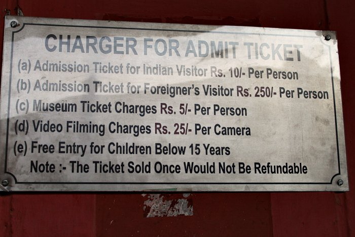 Ticket charges – not so cheap for tourists