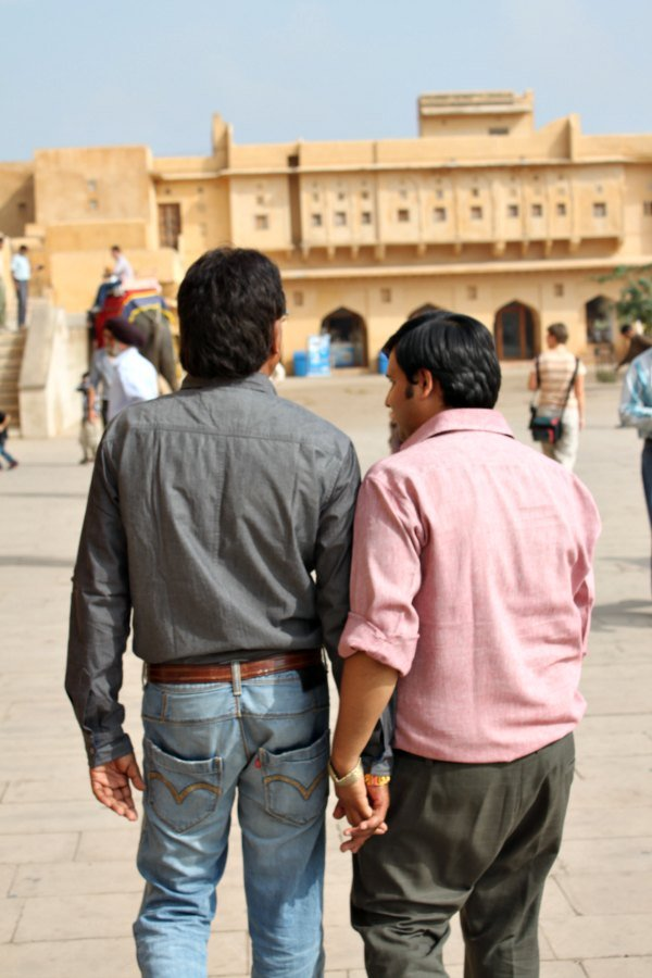 Men holding hands is a common sight in India