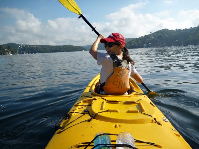 Lisette on the front of the kayak