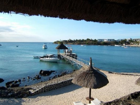 Private beach and pier at Grand Bay