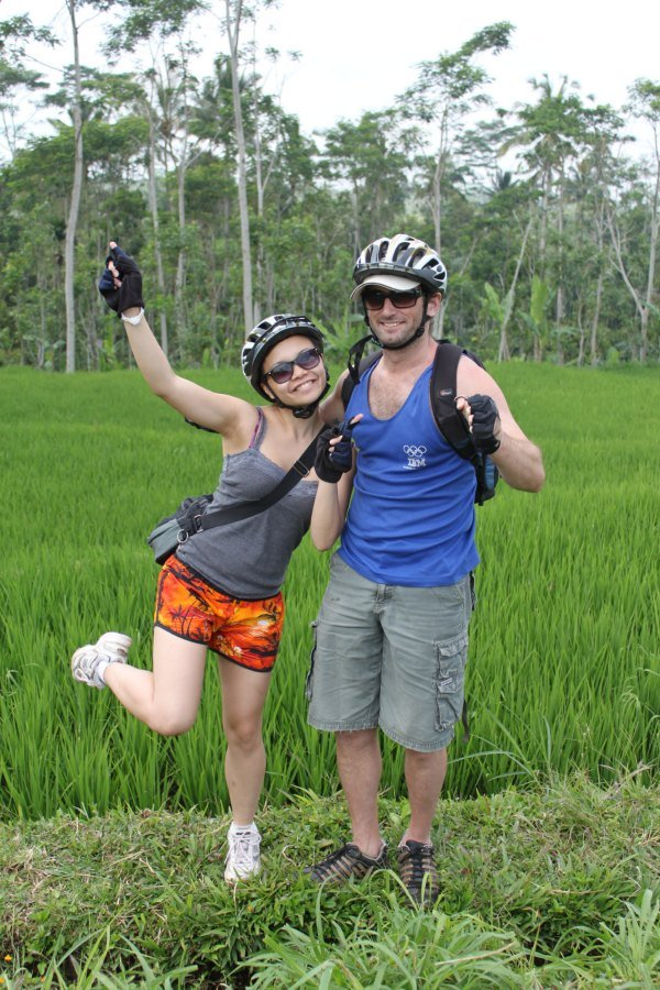 Mike and Lisette at the rice fields