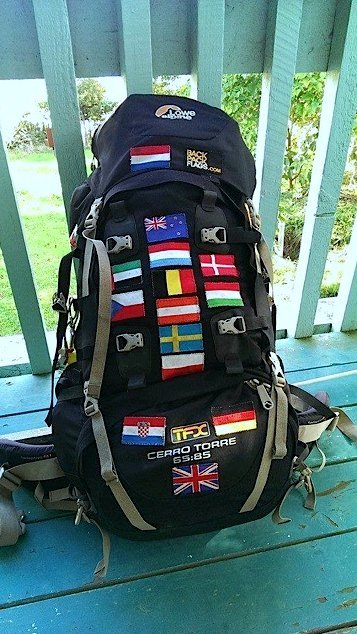 Backpack full of flags