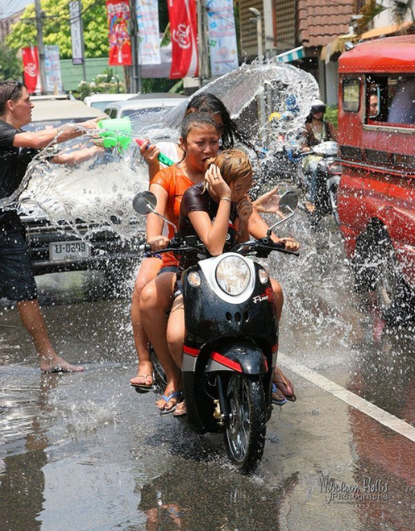 Getting drenched on a scooter