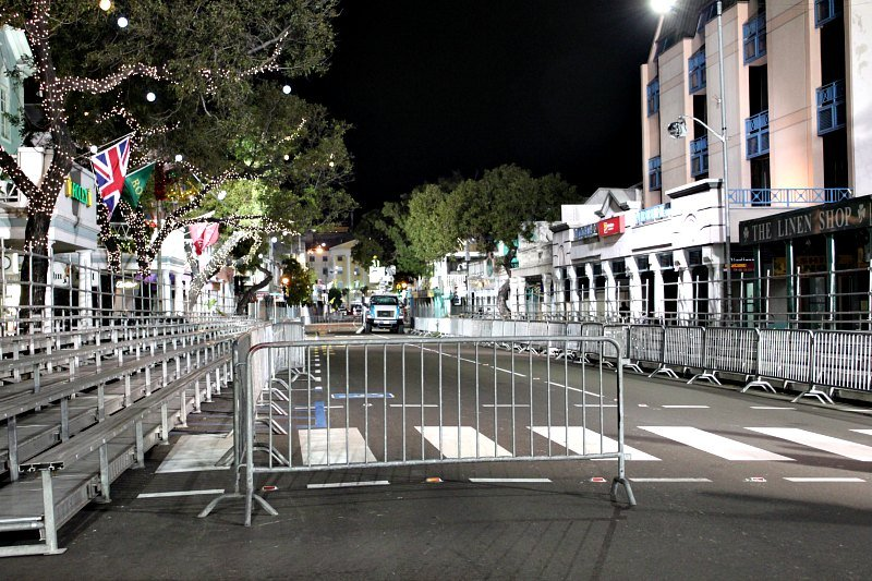 Bleachers and barricades on Bay Street