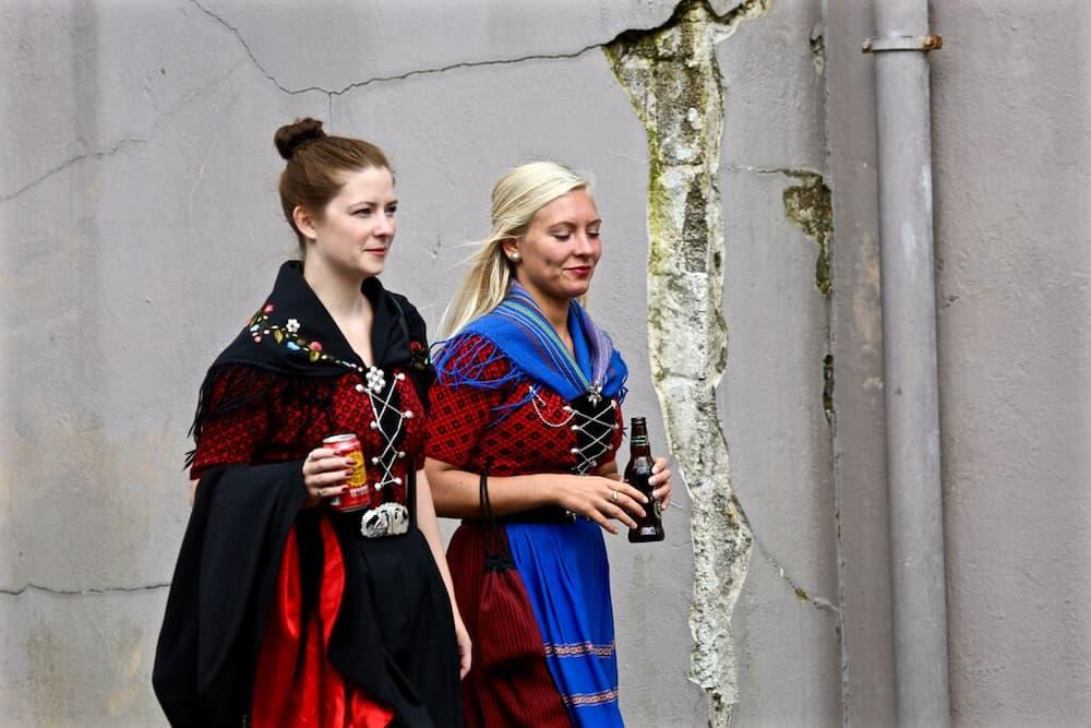 Faroese women in traditional dress