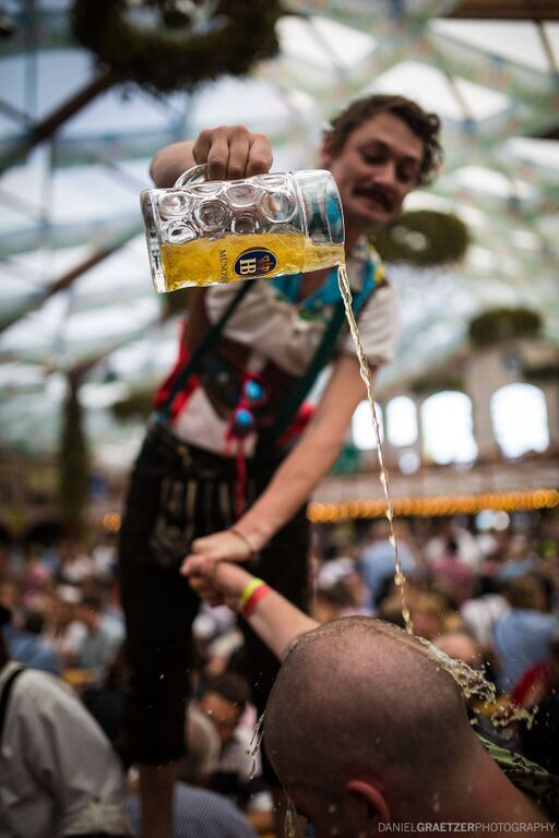 Beer poured on head