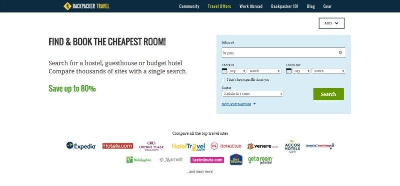 Backpacker Travel Hotel Search