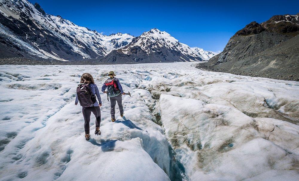 Trekking across the Tasman Glacier