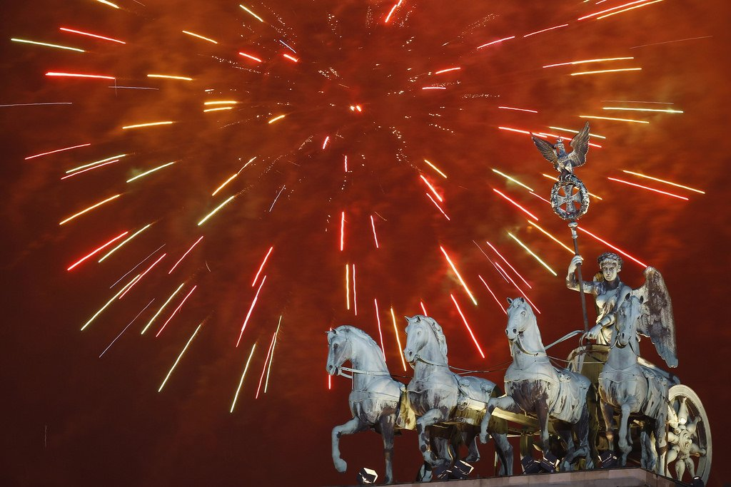 Fireworks over Brandenburg Gate in Berlin