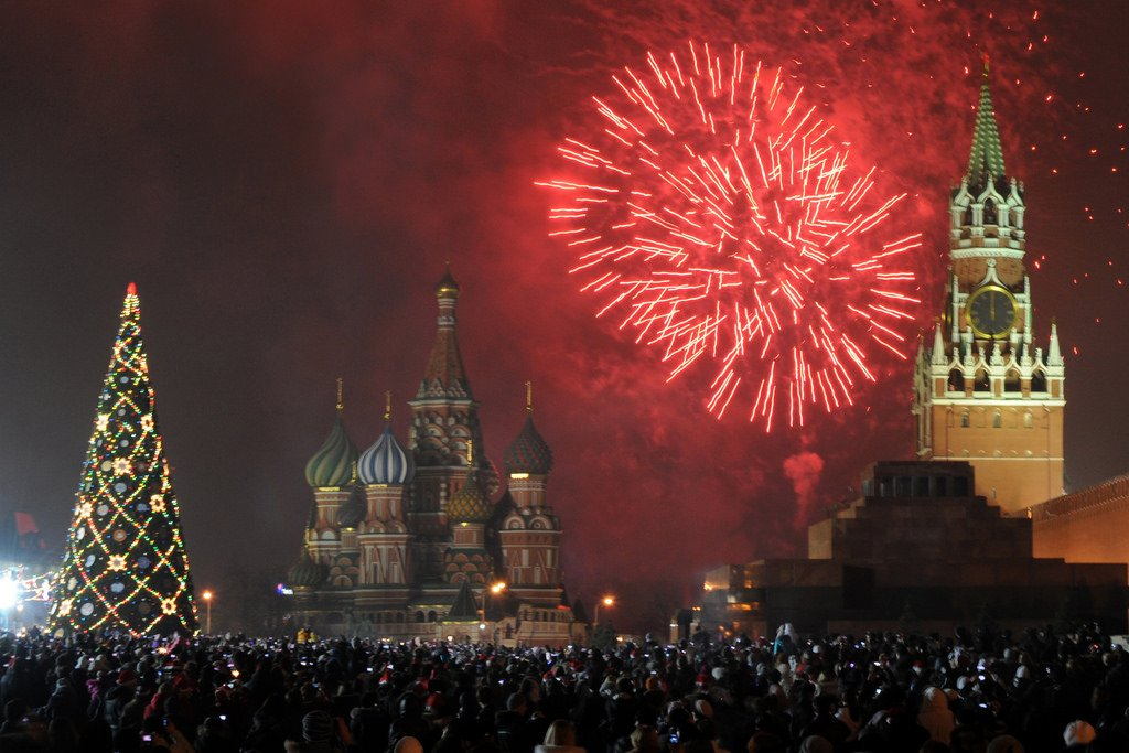 Thousands watching the fireworks at Red Square