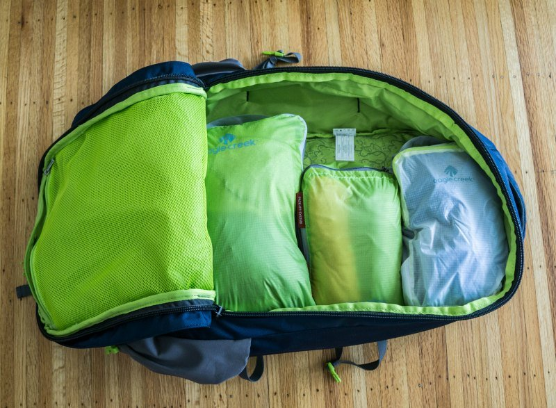 backpack with packing cubes in it