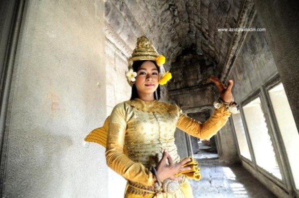 A young khmer girl wearing the traditional costume Angkor Wat Cambodia