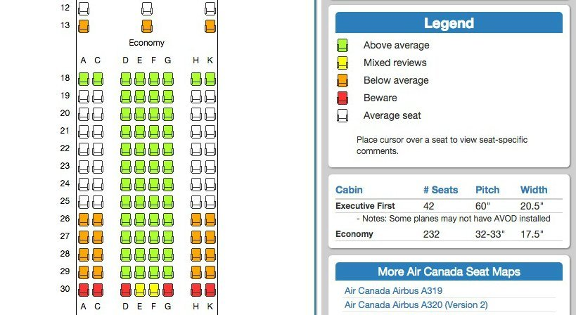 Air Canada Seat Map on SeatExpert.com_