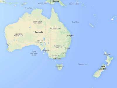 Australia and New Zealand map
