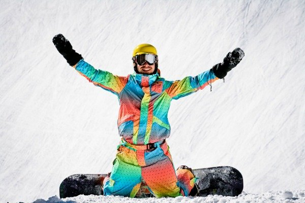 Colorful snowboarder gear