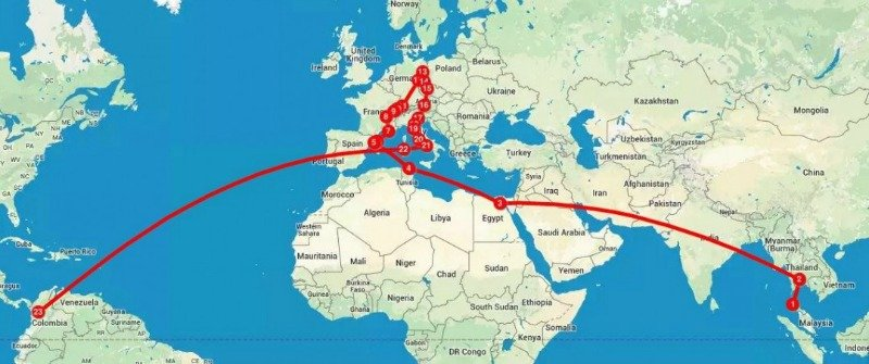 Europe to South America