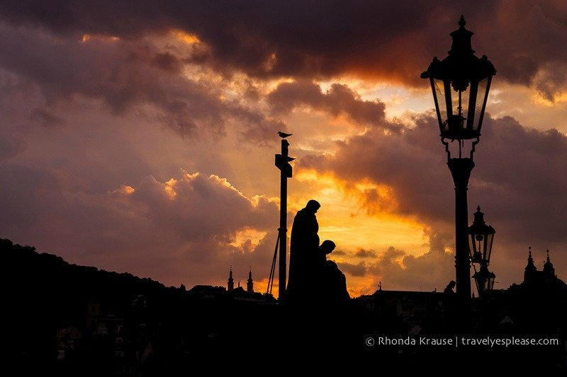 Silhouettes on Charles Bridge Prague