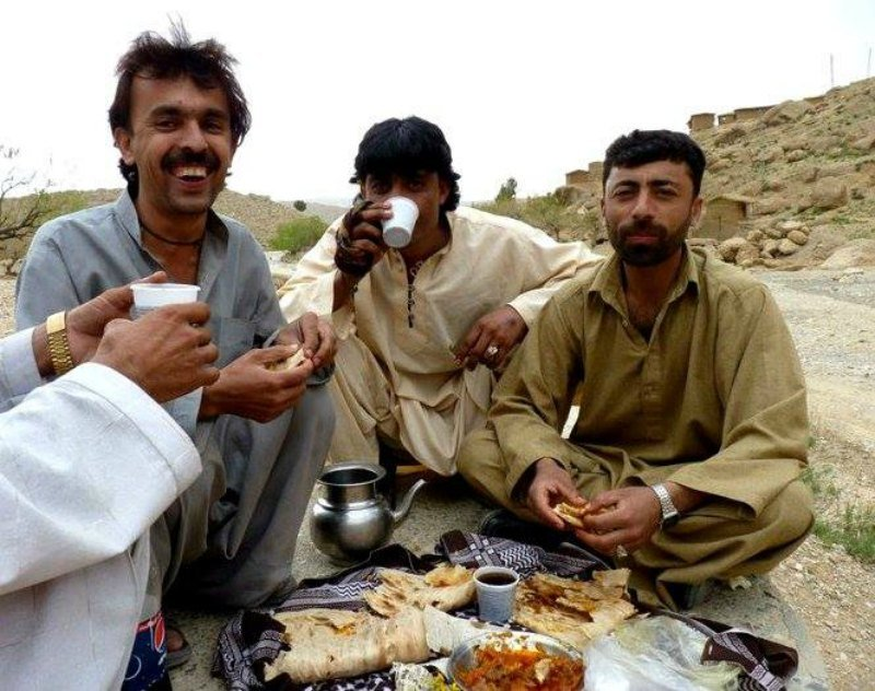 chatting with locals in Pakistan