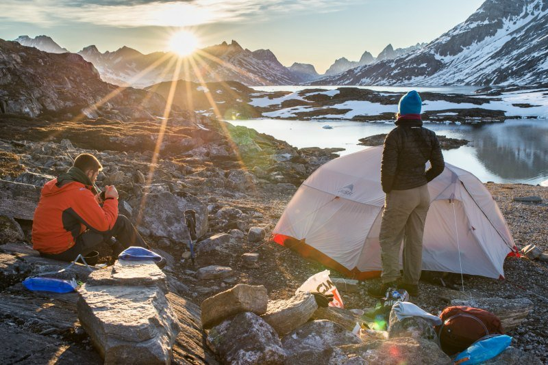 Campsite behind Kuummiut settlement in East Greenland