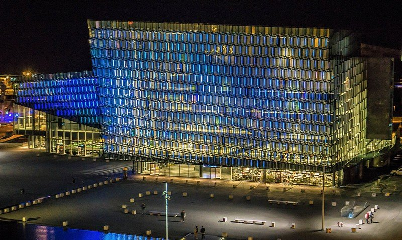 Harpa building at night