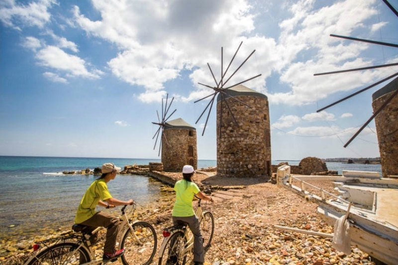 Cycling around the island, Chios, in Greece