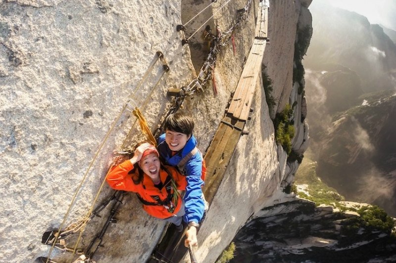 Hanging off a cliff in China