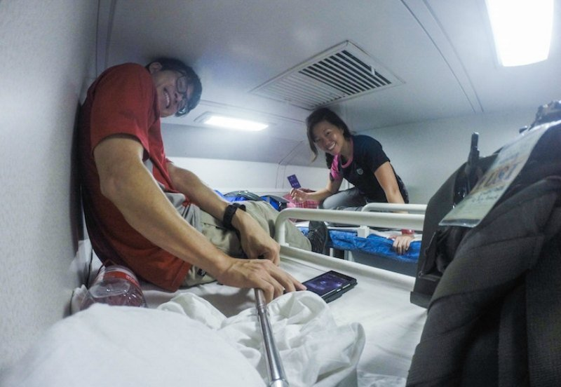Overnight train ride in China, super squeezy bunks