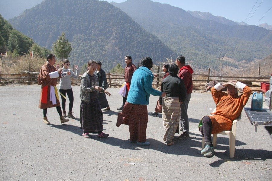 Liany dancing with locals in Haa during Losar celebrations